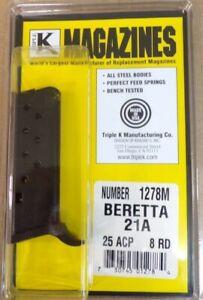 Beretta 21A .25 ACP 8 Round RD Blued Steel Magazine/Mag Triple K 1278M