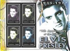 Elvis Presley C8000 Ghana Souvenir Stamp Sheet 4 Stamps 2005 #2497 70th Annivers