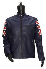 UK Flag Men Biker Leather Jacket Navy Blue Vintage Style Motorcycle Cafe Racer