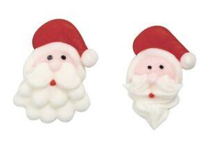 Santa Heads  Sugar Pipings - Edible Cake Decorations  x 10