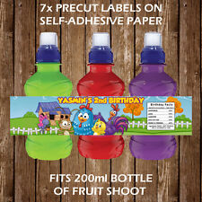 Personalised Galinha Pintadinha Fruit Shoot Bottle Labels Children Party Favours