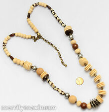 Chico's Signed Necklace Long Gold Tone Ivory Color Disks & Beads Wood Accents