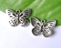 10Pcs Tibet silver Butterfly Charm  Pendant  Jewelry Findings 25x17MM W145