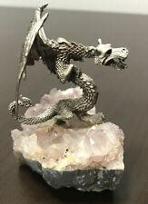 Pewter Dragon Figurine on Purple Amethyst Geode