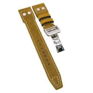 22mm Big Pilot Style Dijon Orange Calf Leather Watch Strap For IWC, Rivet Lug