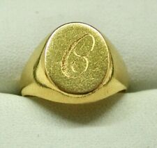Gents 22 Carat Gold Initial C  Signet Ring Size P.1/2