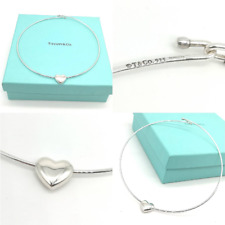 Authentic and RARE Solid Silver Tiffany & Co Puff Heart Wire Necklace