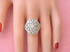 Diamond Cocktail Right-Hand Platinum Wide Ring Estate Art Deco 1.66ctw Mine Euro
