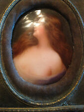 ANTIQUE MINIATURE PAINTING ON PORCELAIN of a NUDE WOMAN signed WAGNER
