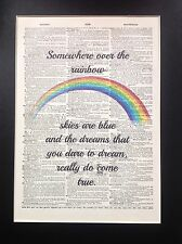 Somewhere Over The Rainbow... Gift Idea A4 Size Antique Dictionary Page Art #39