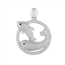 925 Stering Silver Micro Pave Cubic Zirconia  Fish Pendant, 2cm (20 mm) diameter