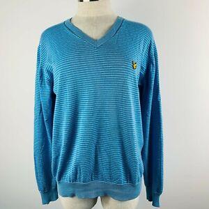 Lyle & Scott Vintage Size L Jumper Sweater Cotton Blue White Stripe Eagle Emblem