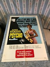 "Psycho 1969 Re-Release Original 1 Sheet Movie Poster 27""x41"" Hitchcock (G Cond.)"