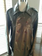 DIESEL Men's Army Green Lined Genuine Leather Jacket Size  L  P10361