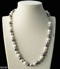 new handmade 8mm white black gray shell pearl beads fashion necklace