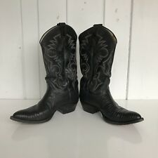 Mens REMINGTON Boots Black Leather Reptile Cowboy Western Size 9E Slightly Musty