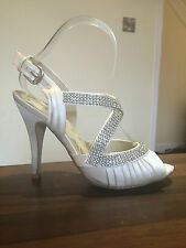 NEXT Stunning Ivory Cream Diamante Sling Back High Heels Shoes Sandals Size 5