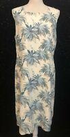 Tommy Bahama Womens Sz 14 Ivory Blue Floral Print Lined Silk Sheath Dress