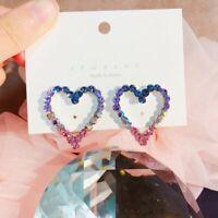 Fashion Hollow Love Heart Earrings Women Colorful Crystal Ear Stud Drop Dangle