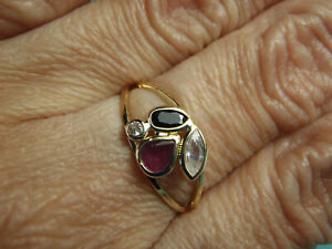 Estate 18K Solid Yellow Gold Beautiful Ruby Sapphire and Cz Ring Size 7 3/4