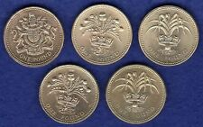 GB, 5x Una Sterlina Moneta, £ 1, 1983, 1984, 1985, 1989 e 1990 (ref, t0974)