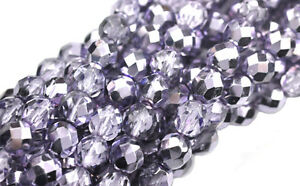 25 Purple Metallic Faceted Fire Polished Round Glass Beads 8MM