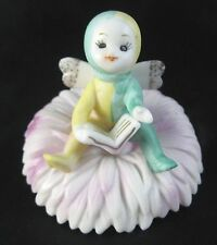 Vtg Napco Fairy Flower Figurine November Mum National Potteries Bisque Pixie