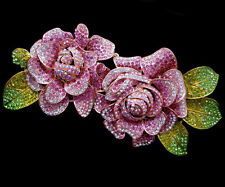 7.9'' Large High Quality Dual Rose Flower Brooch Pin Pink Austrian Crystal Women