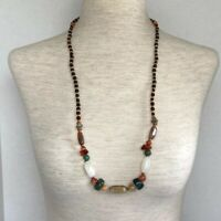 "VTG Natural Stone & Wood Long Beaded Necklace 30"" Jade Agate Quartz"