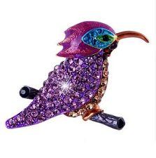 Broche diseño pájaro multicolor estilo martín pescador, cristal austríaco
