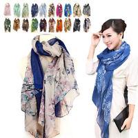 Women's Girl Soft Wrap Shawl Long Chiffon Scarf Voile Stole Style Shawl WFAU