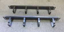 "2 x Black 4 Ring / Hoops  Cabinet Cable Tidy Bar Vertical 19"" 1U Data Rack"