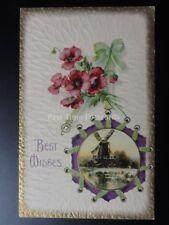 Embossed Poppy Postcard: Best Wishes c1912 - Old Postcard U.S. HARDWICK DUPLEX 1