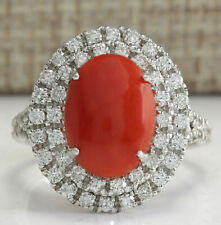 10.84 CT NATURAL Oval cut Red Coral REAL SOLID 14K White Gold Diamond Ring