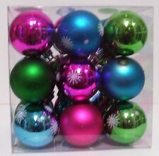 27 PINK BLUE GREEN GLITTER SNOWFLAK 1.5 IN SHATTER RESISTANT CHRISTMAS ORNAMENTS