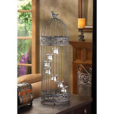 "Large black 28"" tall decorative Accent Bird Cage statue candelabra Candle Holder"
