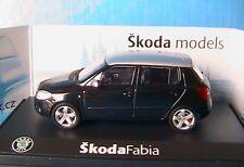 SKODA FABIA II 2007 BLACK MAGIC WITH SILVER ROOF ABREX 1/43 143AB008DW NOIRE