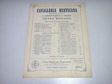 sc11 SPARTITO CAVALLERIA RUSTICANA 512 Motivi per mandolino -  Mascagni 1890