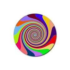Rainbow Swirl Psychadelic Drink Coasters Rubber Beverage Anti Slip Set