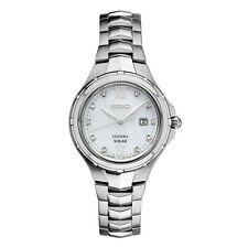 Seiko Solar SUT307 Coultura Ladies Diamond Dial Mother Of Pearl Steel Watch