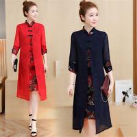 Spring Autumn Leaves Chiffon 3/4 Sleeves Women's Slim Long Dress Cheongsam M-3XL