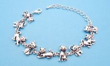 Adjustable Bracelet For Cat Lovers Of Different Kittycats antique silver plated