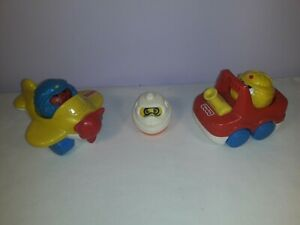 3x Vintage Fisher Price Roll-a-Round Toys with Aeroplane and Fire Engine Truck