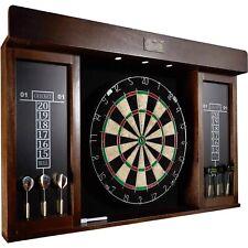 """New listing Barrington 40"""" Dartboard Cabinet Set, LED Lights, Steel Tip Darts, Brown/Black"""