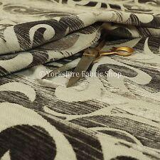 Design Modern Retro Funky Swirl Pattern Grey Black Colour Upholstery Fabric