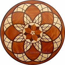 "18"" Wood Floor Inlay 246 Piece Stained Glass Flower kit DIY Flooring Table Box"