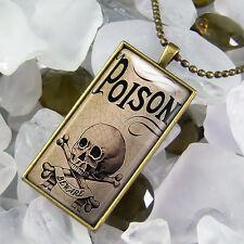 Poison Skull & Crossbones Voodoo Bottle Label Antique Bronze Glass Necklace