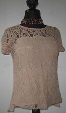 H By Bordeaux Women's Blouse Lace Overlay Knit Top Tan size Medium Excellent