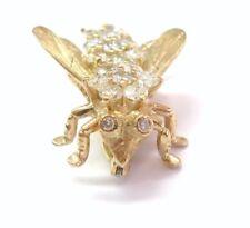 Abeja Diamante Sólido 14KT Oro Amarillo Pin / Broche H/VS2-SI2 2.5cm x 2.02Ct
