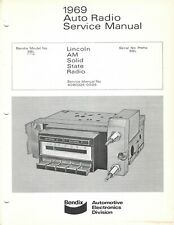 Bendix Auto Radio Service Manual 1969 Lincoln AM Solid State Radio